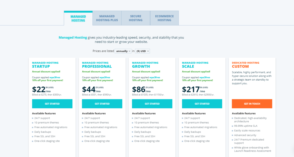 WP Engine web hosting review 2021 pricing image