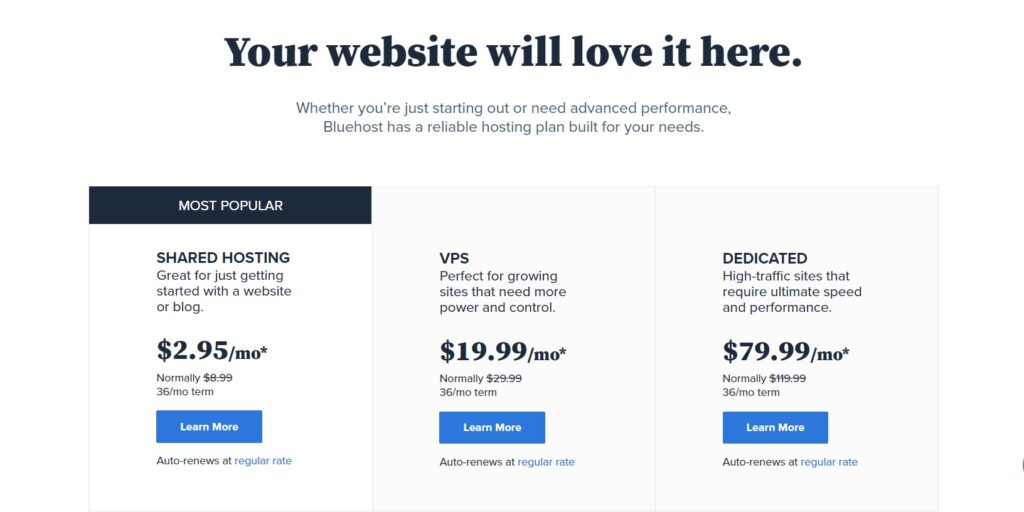 Bluehost VS WP Engine comparison, Bluehost pricing